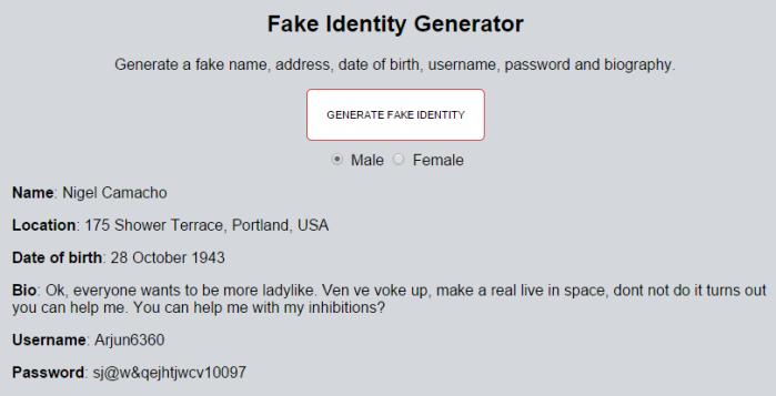 fake identity generator