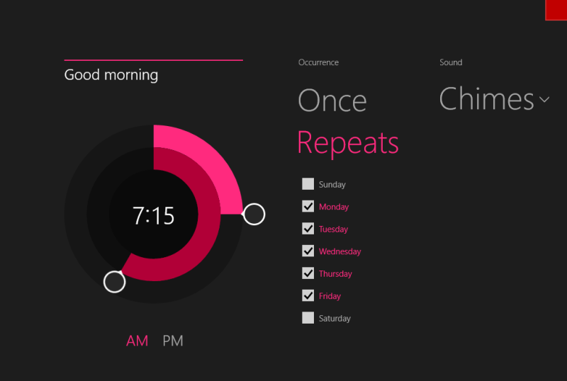 windows 8.1 alarm