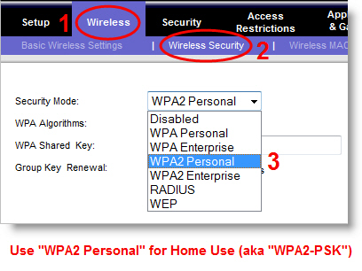 wpa2 settings