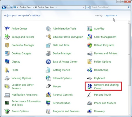 windows 7 control panel network and sharing center