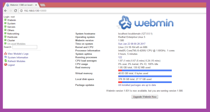webmin in linuxmin in linux as server and
