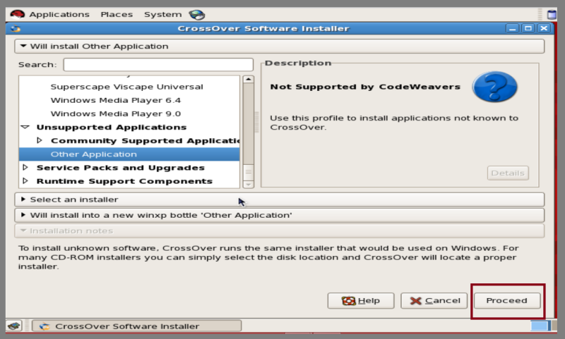 crossover software in linux