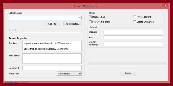 create torrent file
