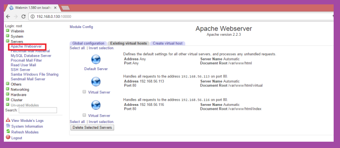 how to configure webmin in linux as server and windows as client