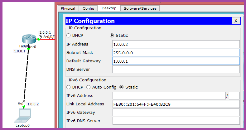 ip configuration in cisco packet tracer