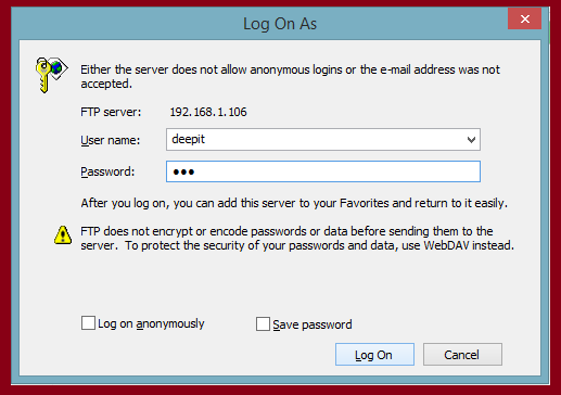 ftp server windows login