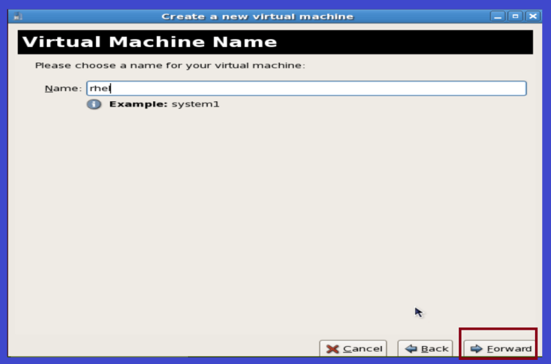 virtual machine wizard in linux