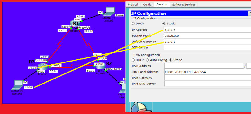 static routing three routers cisco packet tracer