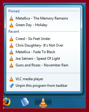 vlc recent list in windows 10 and 8.1