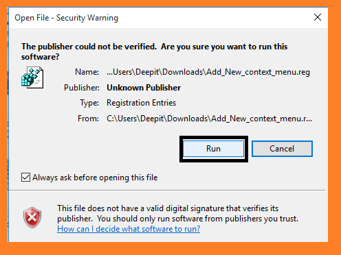 security warnings when adding new registry file