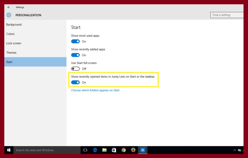 personalization option in settings of windows 10 or 8.1