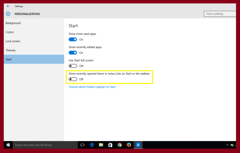 personalization option in windows 10 or 8.1