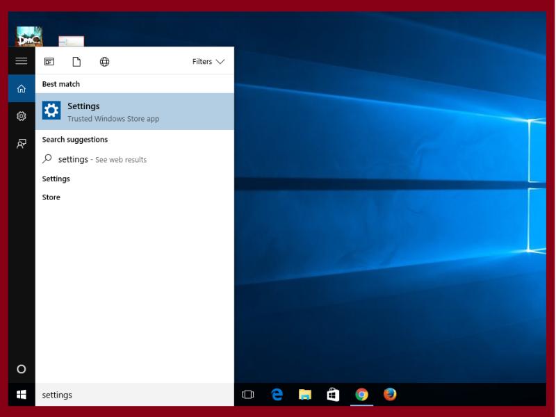 settings option in windows 10 .
